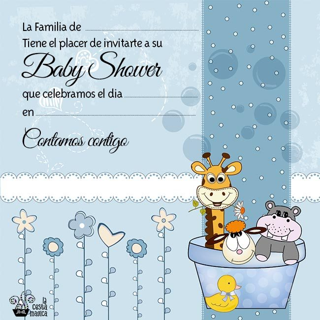 descarga gratis invitacion baby shower niño animalitos