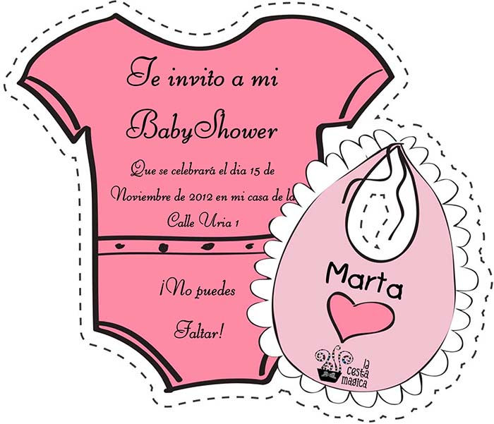 descargar gratis invitación recortable baby shower niña