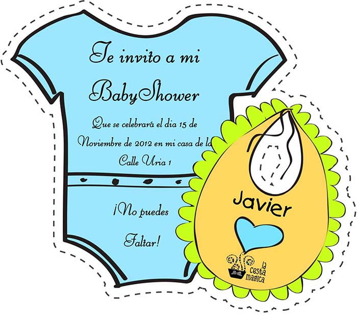 descargar gratis invitación recortable baby shower niño